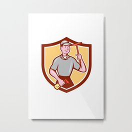 Window Washer Cleaner Squeegee Shield Cartoon Metal Print