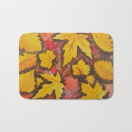 Autumn Leafs Red Yellow Brown Fall pattern based on the acrylic painting Bath Mat