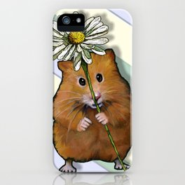 Hamster Holding a Daisy Flower iPhone Case