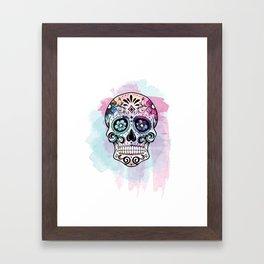 Watercolor Sugar Skull Framed Art Print