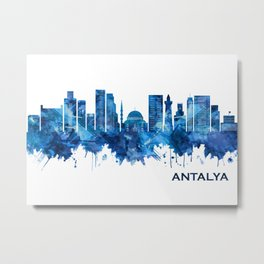 Antalya Turkey Skyline Blue Metal Print