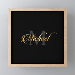 Name and initial of a boy Michael in golden letters Framed Mini Art Print