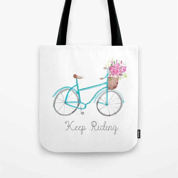 Keep Riding Bike, Watercolor Bike Tote Bag