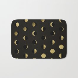 The Lunar Cycle • Phases of the Moon – Black & Gold Palette Bath Mat