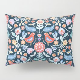 Happy Folk Summer Floral on Navy Pillow Sham