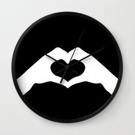 Hands making a heart shape- portraying love Wall Clock
