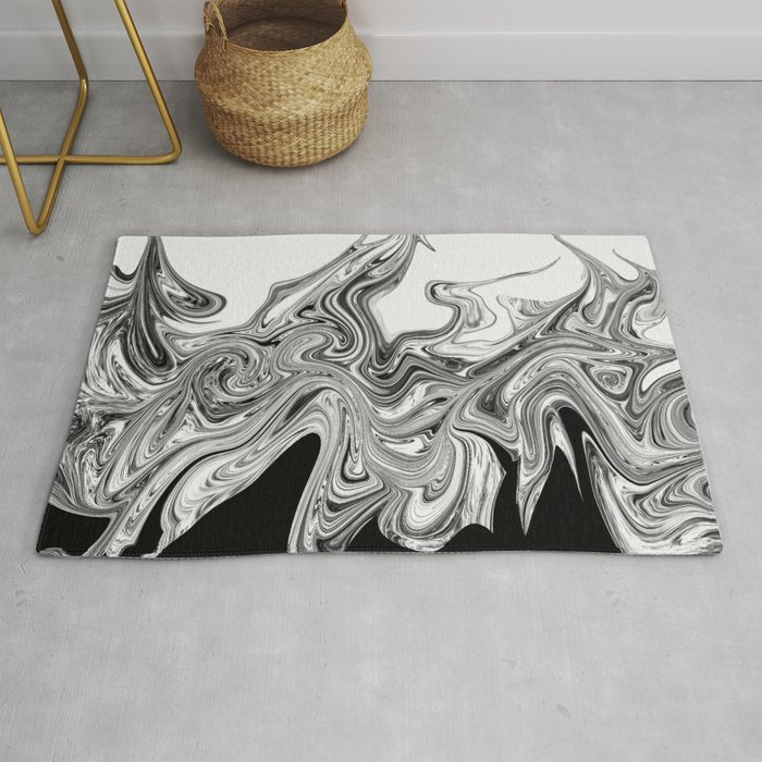 Modern Contemporary Black And White Abstract Rug By Artaddiction45