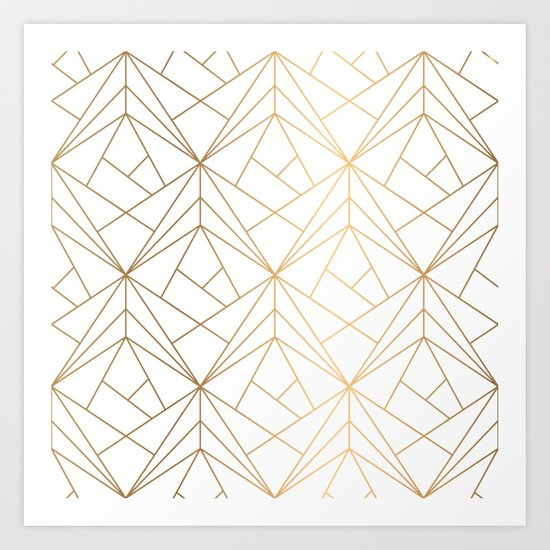Geometric Gold Pattern With White Shimmer by victorys