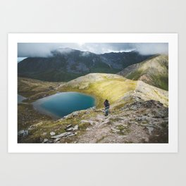 A lake in the mountains Art Print
