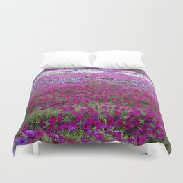 Waves of color on a sea of Petunias Duvet Cover