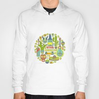 mexico Hoodies featuring Viva Mexico by Favete Art
