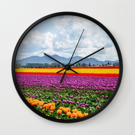 Bright Fields and Mountains Wall Clock