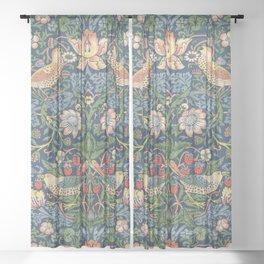 Strawberry Thief - Vintage William Morris Bird Pattern Sheer Curtain