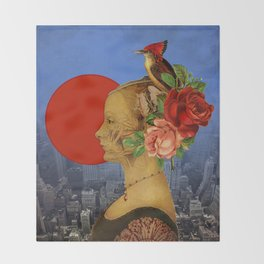 woman with birds and flowers hat Throw Blanket