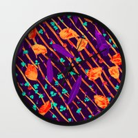 psychadelic Wall Clocks featuring Psychadelic Natural Pattern #5 by Andrej Balaz