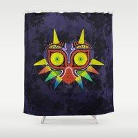 majoras mask Shower Curtains featuring Majora's Mask Splatter by Greytel