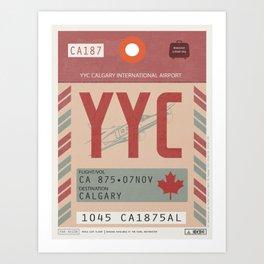 Vintage Calgary Luggage Tag Poster Art Print