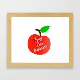 Rosh Hashanah inside an red apple or Jewish Near year greetings Framed Art Print