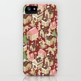 Gingerbread Town Red iPhone Case