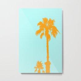 Orange palm trees silhouettes on blue Metal Print