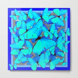 Shades of Turquoise Blue Butterflies Swarming Art Metal Print