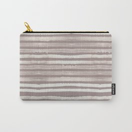 Simply Shibori Stripes Lunar Gray and Red Earth Carry-All Pouch