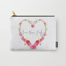 Love Never Fails Floral Heart Carry-All Pouch