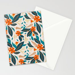 Floral Pattern Red and Teal Stationery Cards
