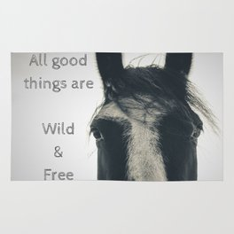 All Good Things are Wild and Free, thoreau quote, horse photo sepia inspirational freedom Rug