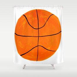 Orange Basketball Shower Curtain