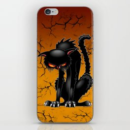 Black Cat Evil Angry Funny Character iPhone Skin