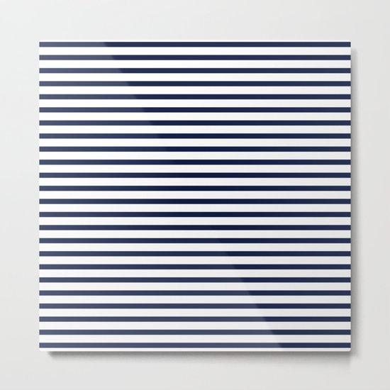 Indigo Navy Blue Nautical Stripes Metal Print