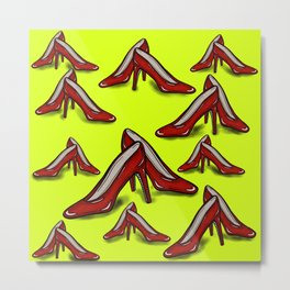 Red Ruby Heels on Fluoro Yellow Metal Print
