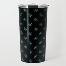 Turquoise on Black Snowflakes Travel Mug