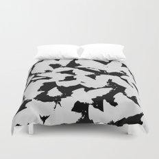Black Bird Wings on Grey Duvet Cover