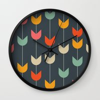 tulips Wall Clocks featuring Tulips by Tracie Andrews