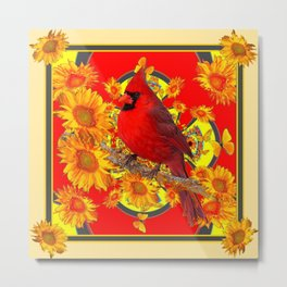 RED CARDINAL SUNFLOWERS ON CREAM ART Metal Print