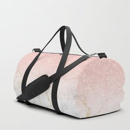 Rose Gold Glitter and gold white Marble Duffle Bag