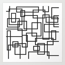 Black and White Cubical Line Art Art Print