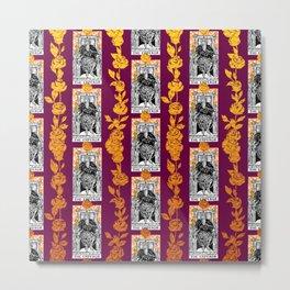 Tarot The Emperor - A Floral Tarot Pattern Metal Print