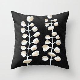 White Eucalyptus Leaves Throw Pillow
