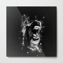 horse hilarious big mouth watercolor splatters black white Metal Print