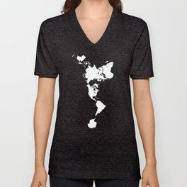 Dymaxion World Map (Fuller Projection Map) - Minimalist White on Black Unisex V-Neck