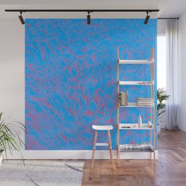 eruption, red on blue Wall Mural