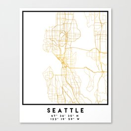SEATTLE WASHINGTON CITY STREET MAP ART Canvas Print