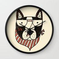 dog Wall Clocks featuring Dog by Farnell