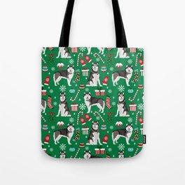 Alaskan Malamute dog christmas pattern candy canes christmas presents Tote Bag