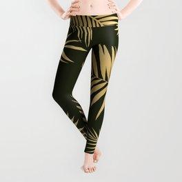 Golden and Green Palm Leaves Leggings