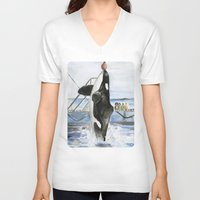 marine V-neck T-shirts featuring Marine Star by Jeff Moser Watercolorist
