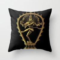 shiva Throw Pillows featuring Shiva by Aurapim Vorasopan